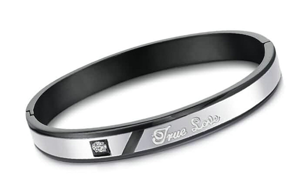 Stainless Steel Bracelet for Couple Engrave True Love Silver Bangle