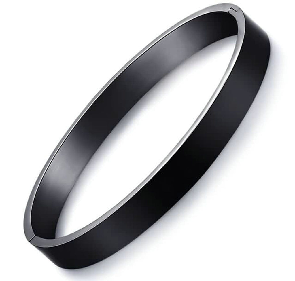 Stainless Steel Bangle Bracelet for Couple Flat Surface Black