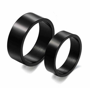 Ring for Couple Stainless Steel Wedding Bands Polished 8mm Black