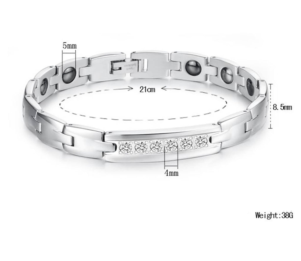 Bracelets for Couples Stainless Steel Men's Polishing Magnetism Zirconia White