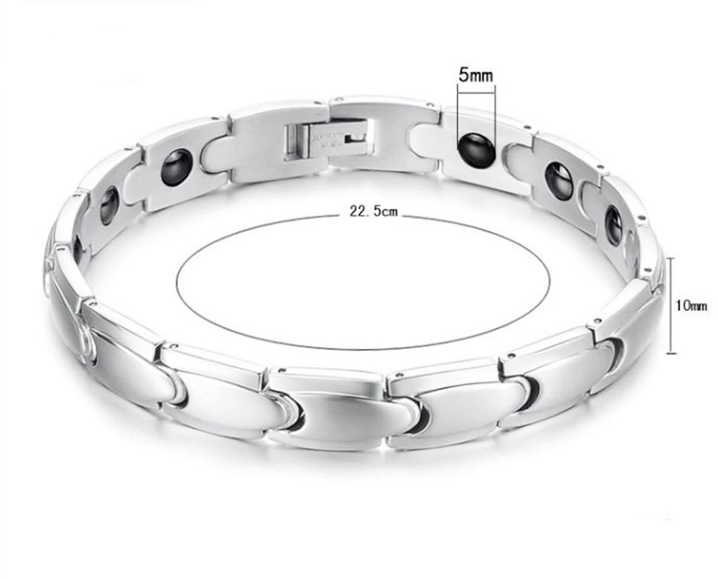 Bangle Bracelet for Couple Stainless Steel Energy Tank Chain Magnetic Health Chain White