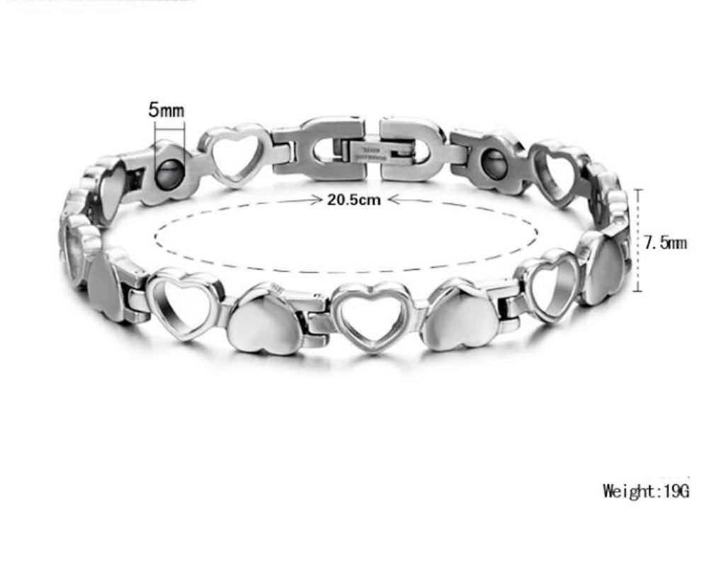 Bracelet for Couple Stainless Steel Hollow Love Heart Antifatigue White