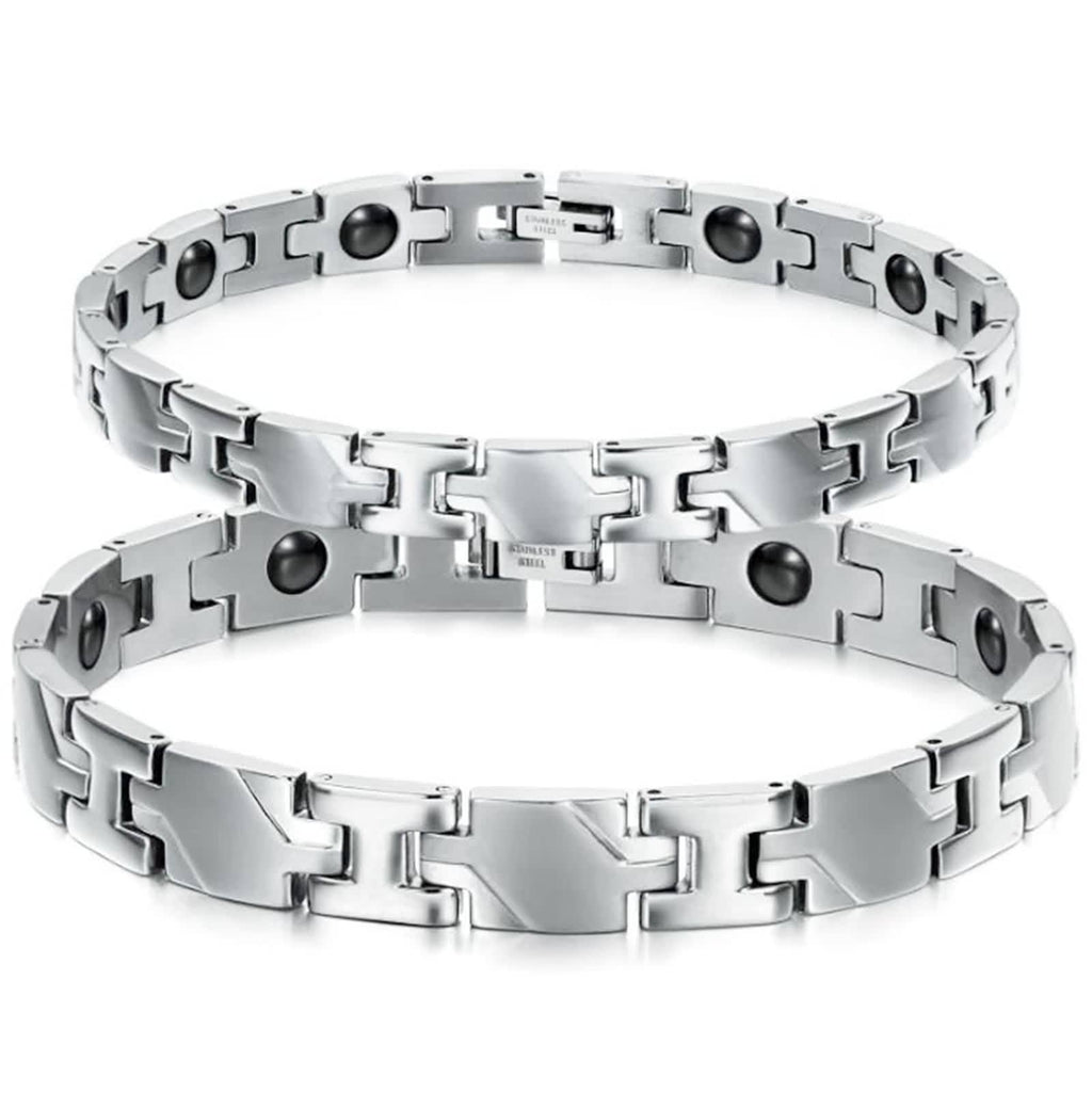 Bangle Bracelet for Couple Stainless Steel Irregular Chain Magnetic Antifatigue White