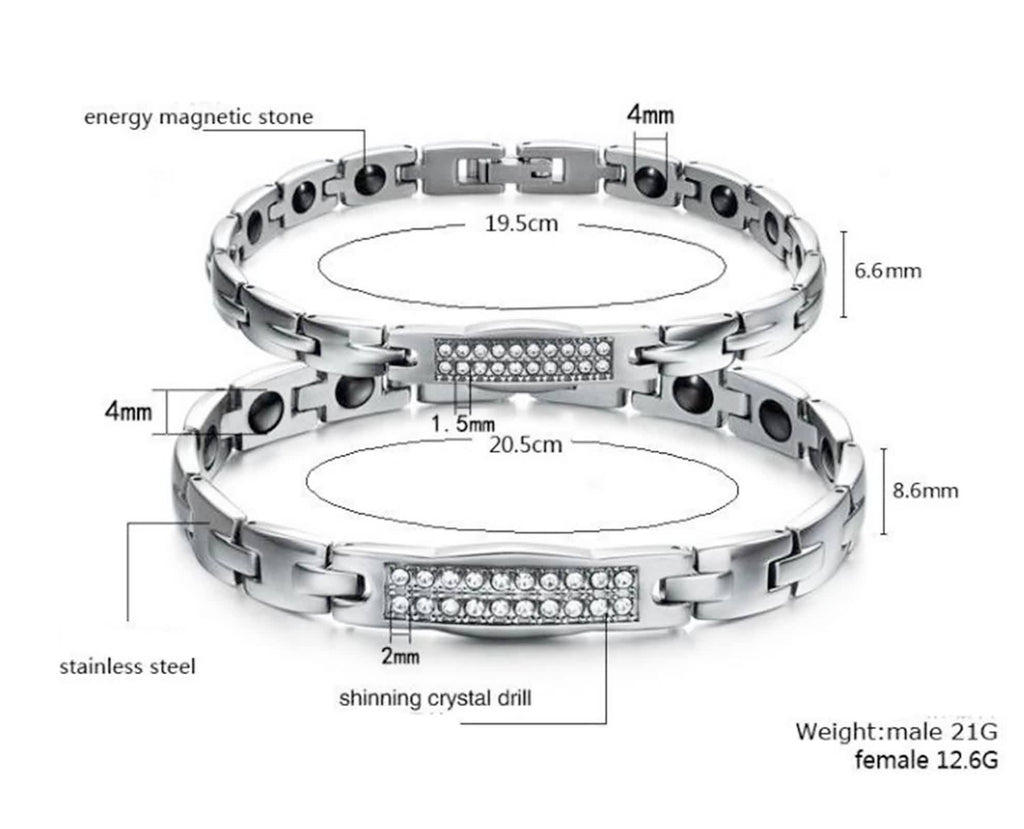 Charm Bracelet for Couple Stainless Steel Chain Link White Double Rows of Zirconia Wristband