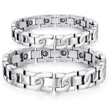 Stainless Steel Bracelet for Couples Chain Link Rectangular Cubic Zirconia Wristband White