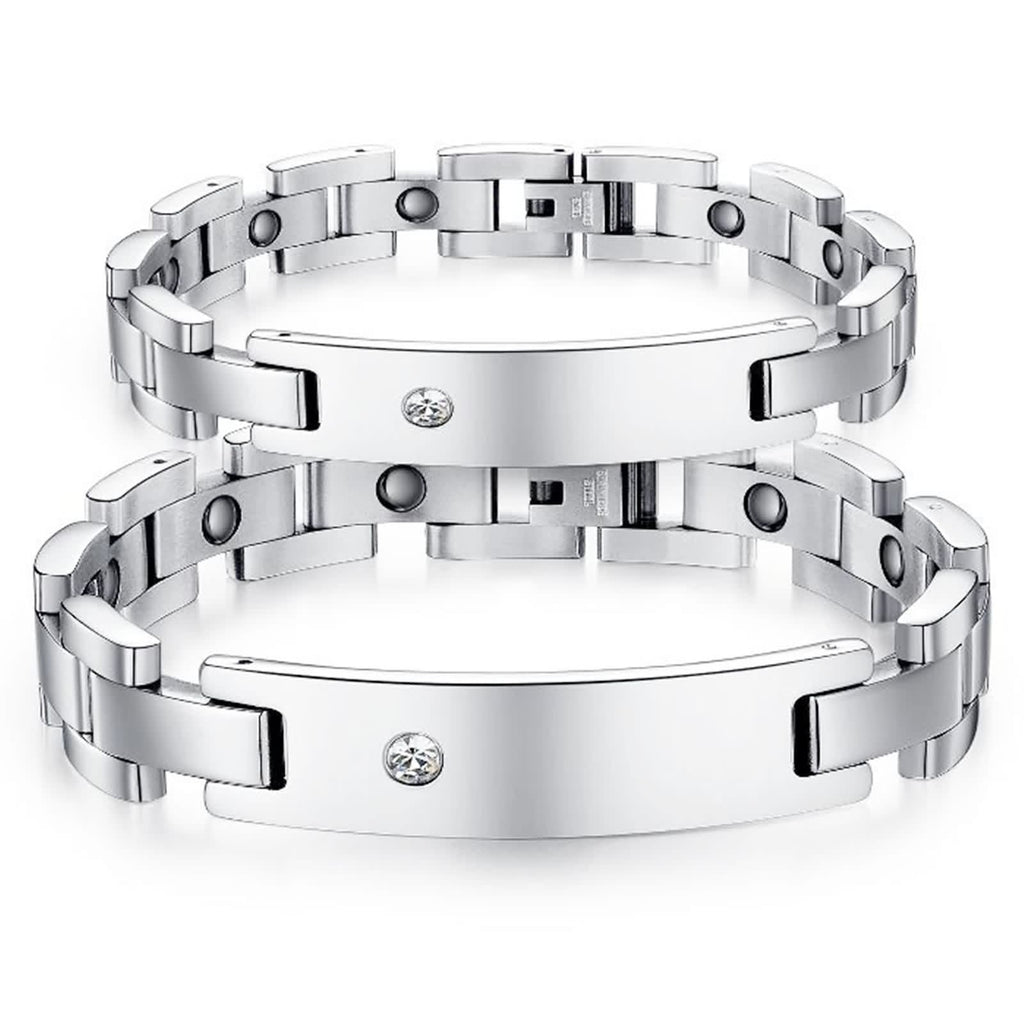 Stainless Steel Bangle Bracelet for Couples Rectangle Tag Cubic Zirconia Wristband White