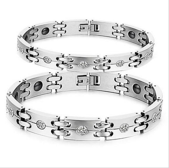 Stainless Steel Bracelet for Couple Chain Link Double Layer Zirconia Inlaid Wristband White