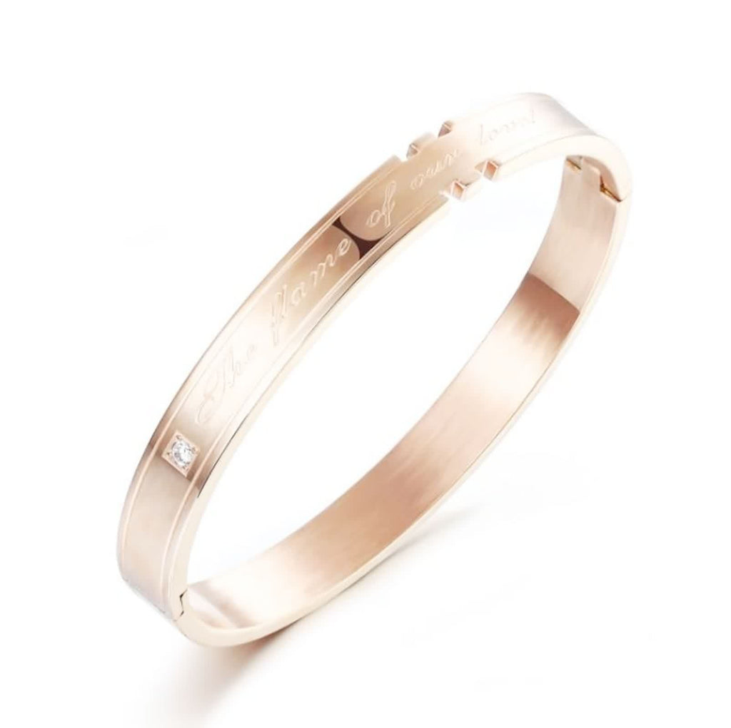 Stainless Steel Bangle Bracelet for Couples Flame of Our Love Zirconia Rose Gold