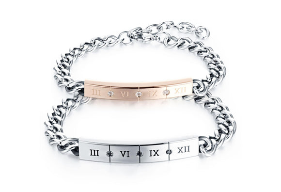 Stainless Steel Bracelet for Couple Roman Numberal Crystal Rose Gold Chain Link