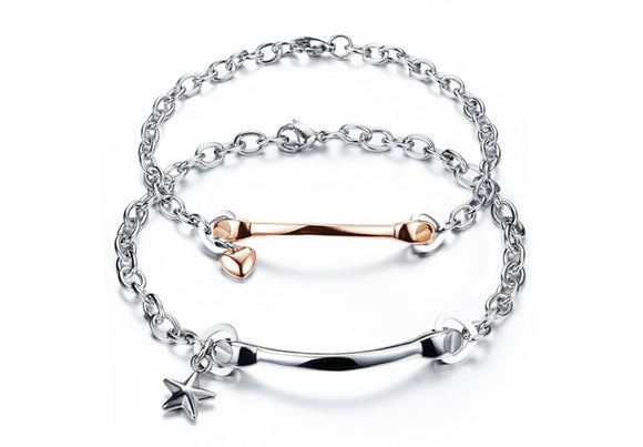 Stainless Steel Charm Bracelet for Couple Heart Bone Rose Gold Chain 8.5CM
