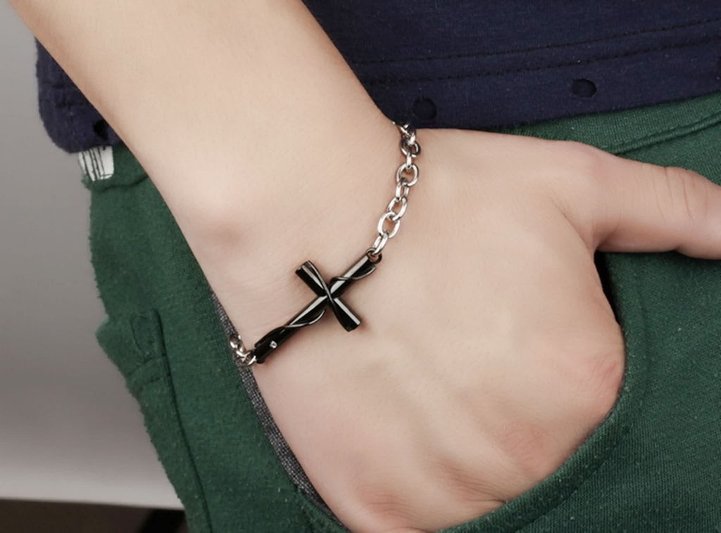 Stainless Steel Charm Bracelet for Couples Cross Wrapped Black 20CM