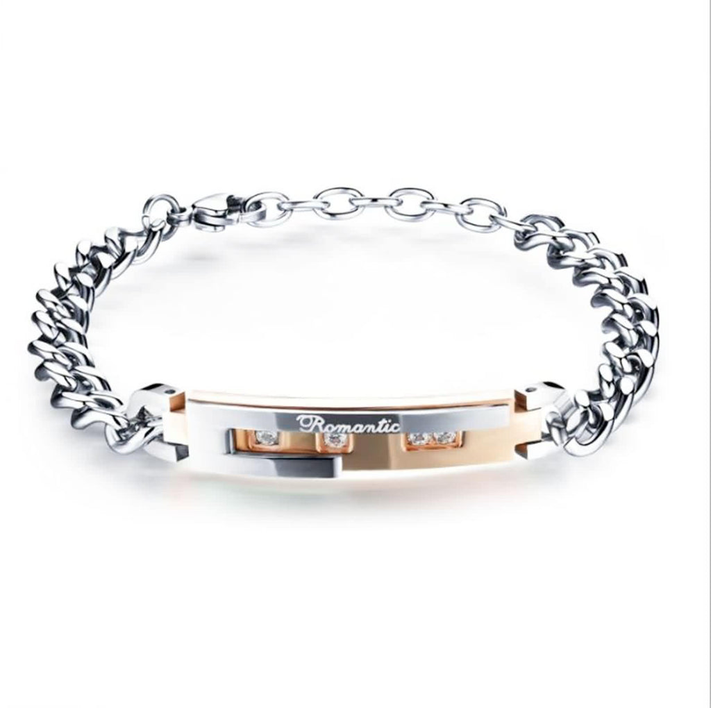Stainless Steel Chain Link Bracelet for Couples Engraved Romantic CZ Silver