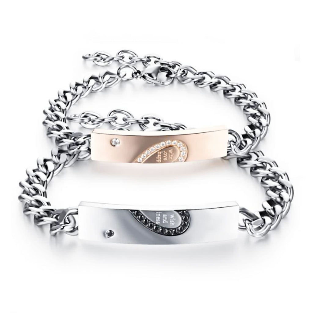 Stainless Steel Chain Link Bracelet for Couples Half Love Puzzle Zirconia Silver