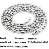 Stainless Steel Chain Necklaces for Couple Engagement Silver Round 55 CM