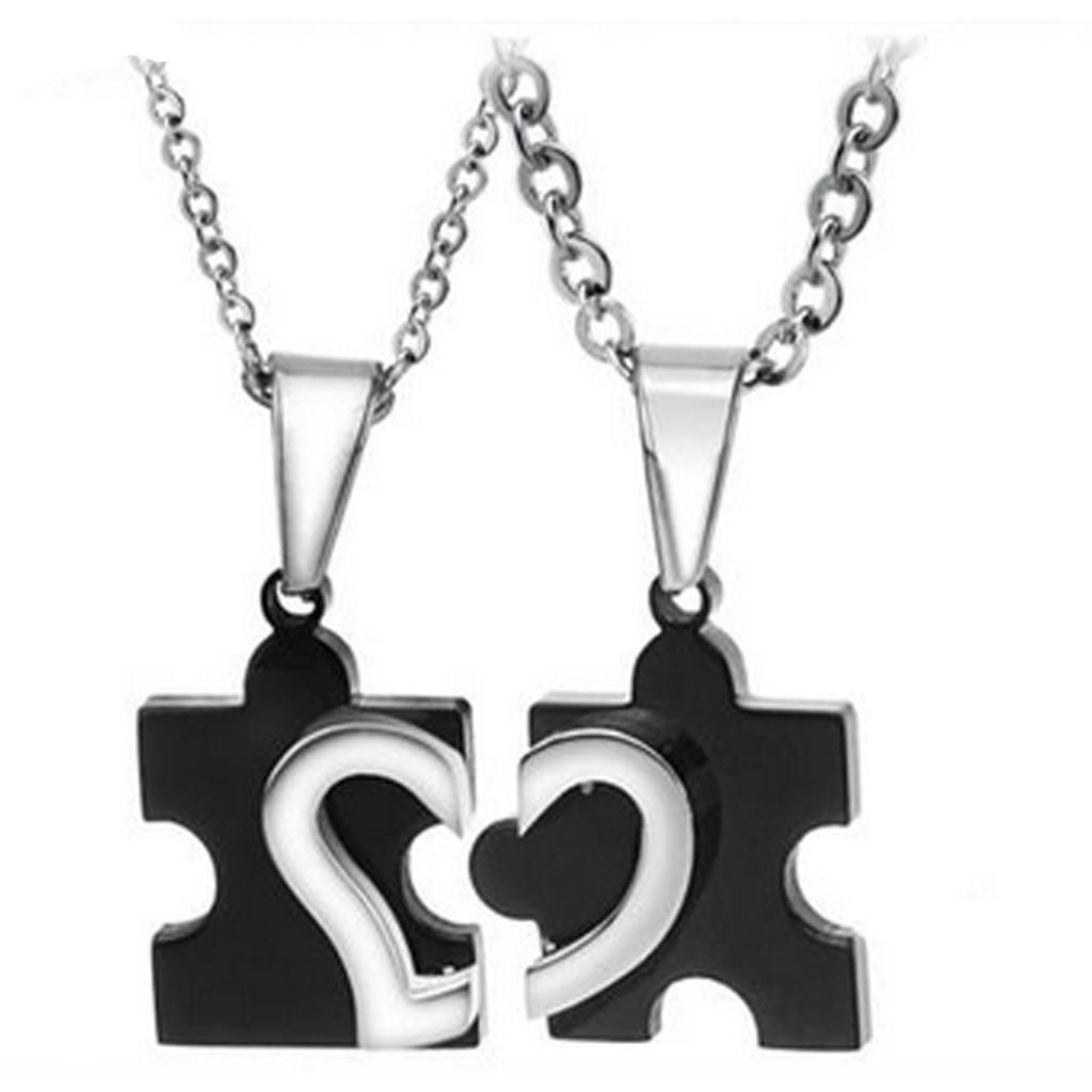 Couple Necklace Stainless Steel Lover's Love Puzzles Black