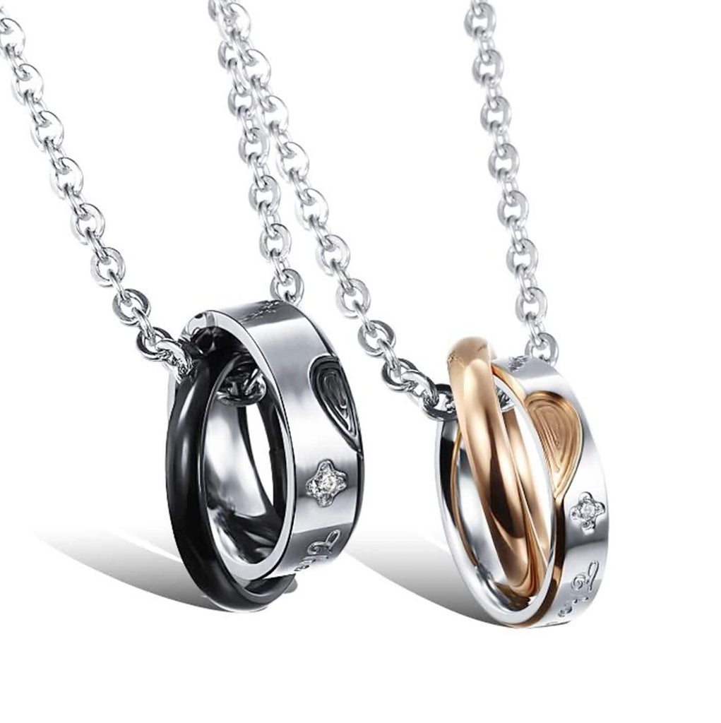 Stainless Steel Couple's Pendant Necklace Love Fingerprints Zirconia Necklaces Black Rose Gold