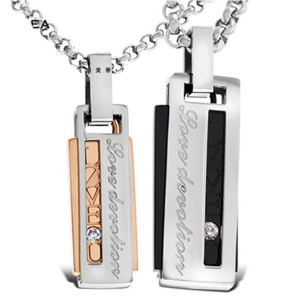 Stainless Steel Chain Necklace for Couple Engagement Silver Tag Engraving 50 CM
