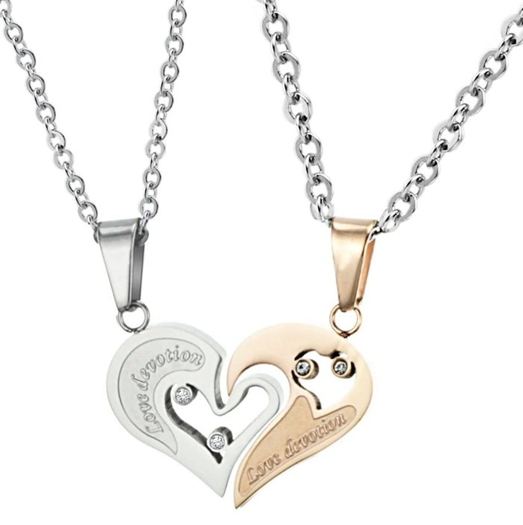 Stainless Steel Pendant Necklace for Couple Hollow Heart Puzzle Zirconia Gold White