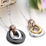 Stainless Steel Chain Necklaces for Couple Engagement Round Heart Pendant 50 CM