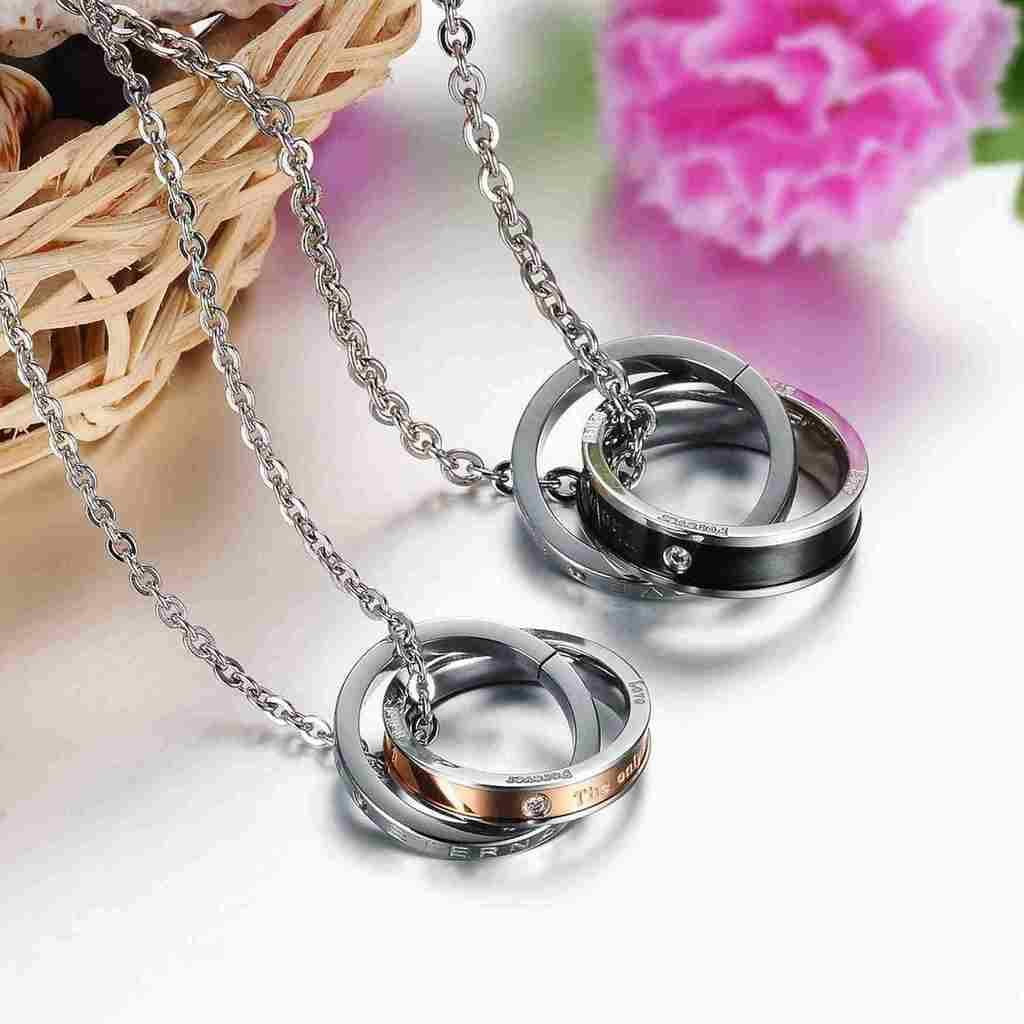 Stainless Steel Necklace Pendant for Couple Engagement Black Round 50 CM
