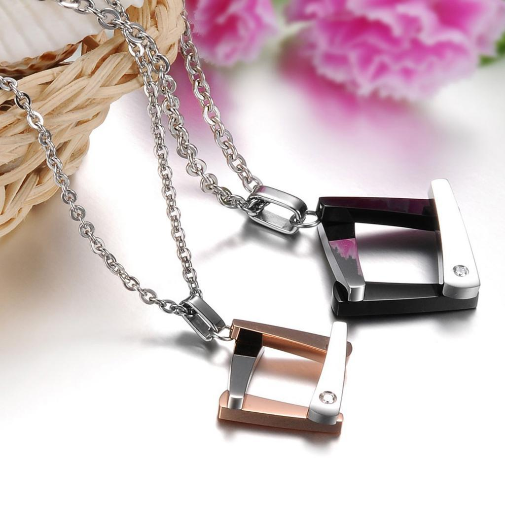 Stainless Steel Pendant Necklace for Couple Square Pendant Chain Cubic Zirconia