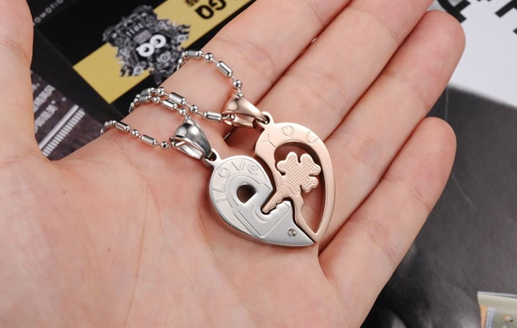 Stainless Steel Couple Pendant Necklaces Heart Puzzle Zirconia Inlaid Silver Rose Gold