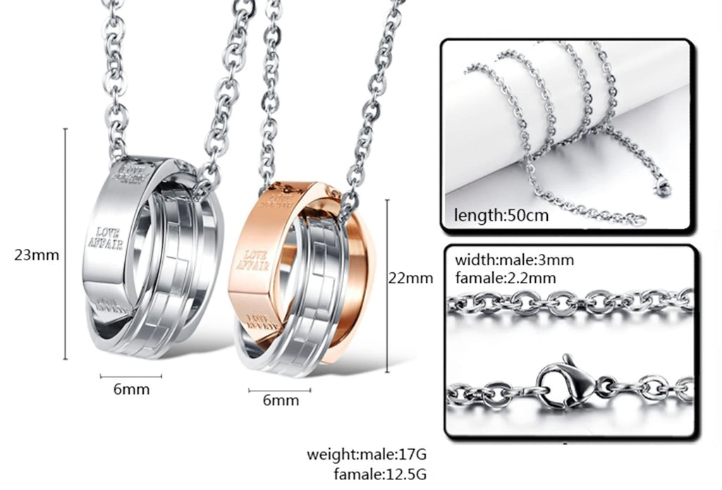Stainless Steel Women Men Pendant Necklace Chain LOVE AFFAIR Silver Rose Gold