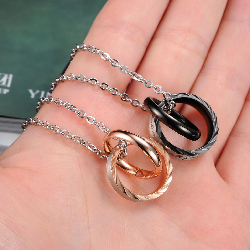 Stainless Steel Pendant Necklace for Couple Pendent Matching Set Lettering Rings Lover Style