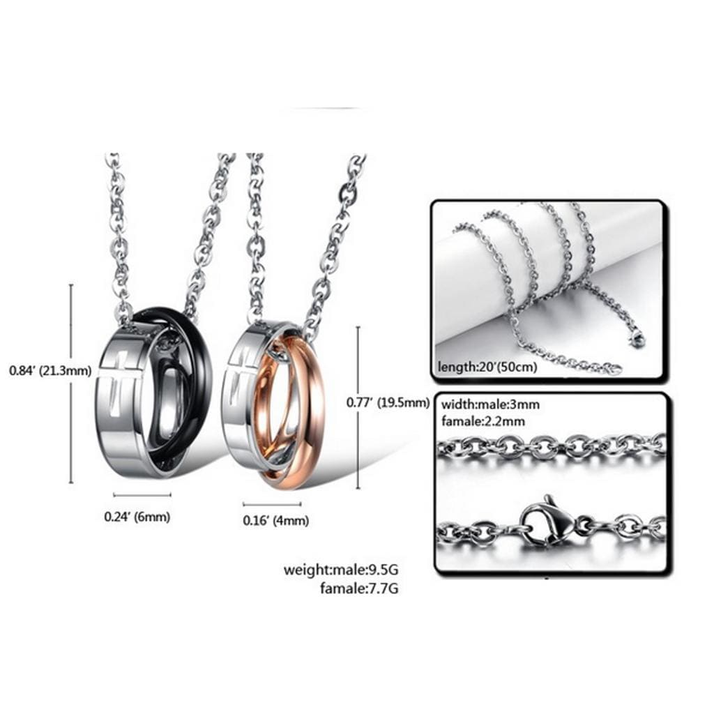 Stainless Steel Pendant Necklace for Couple Ups Cross Pendent Black Rose Gold