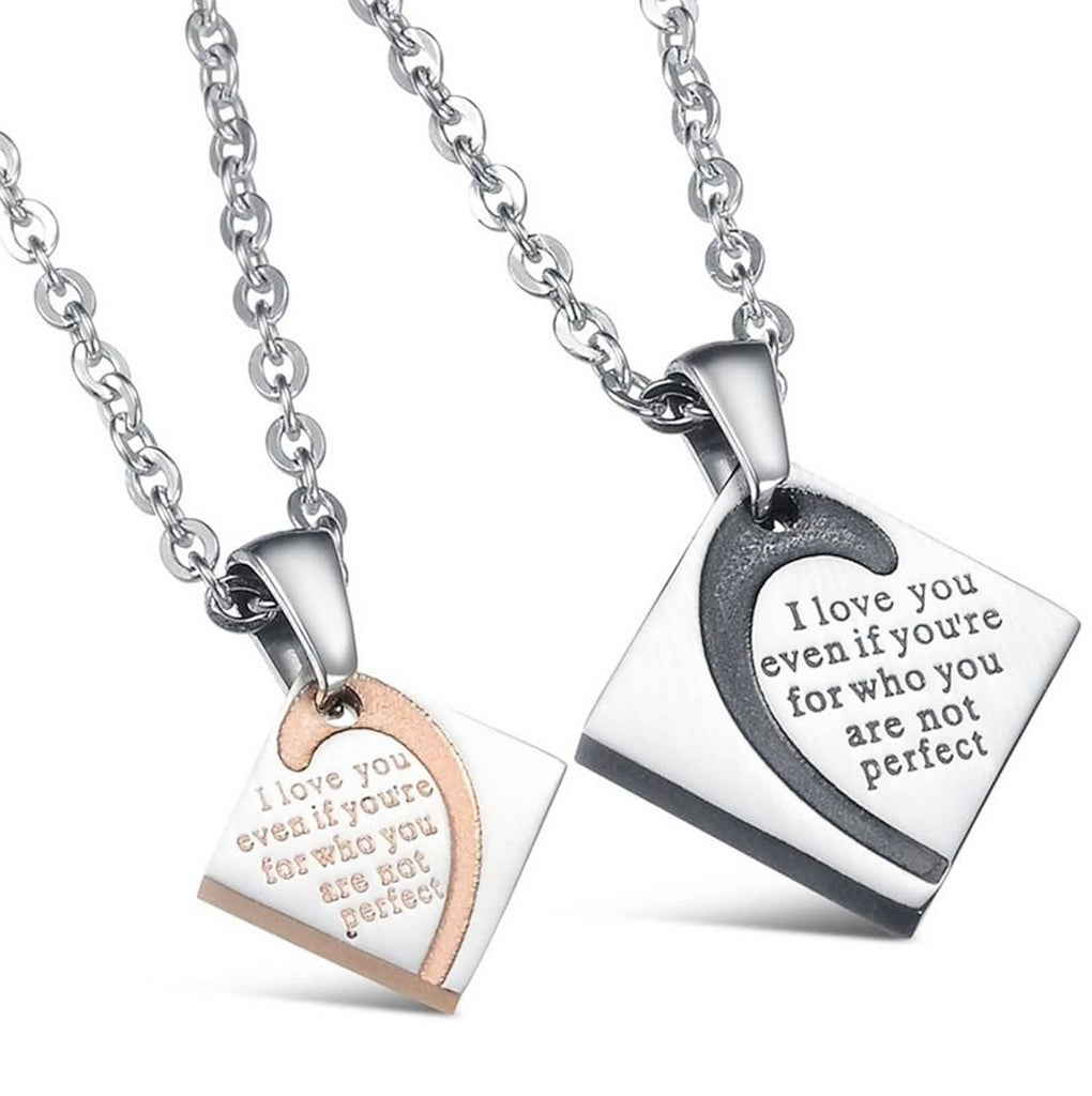 Stainless Steel Women Men Pendant Necklace Square Love Words Black Rose Gold