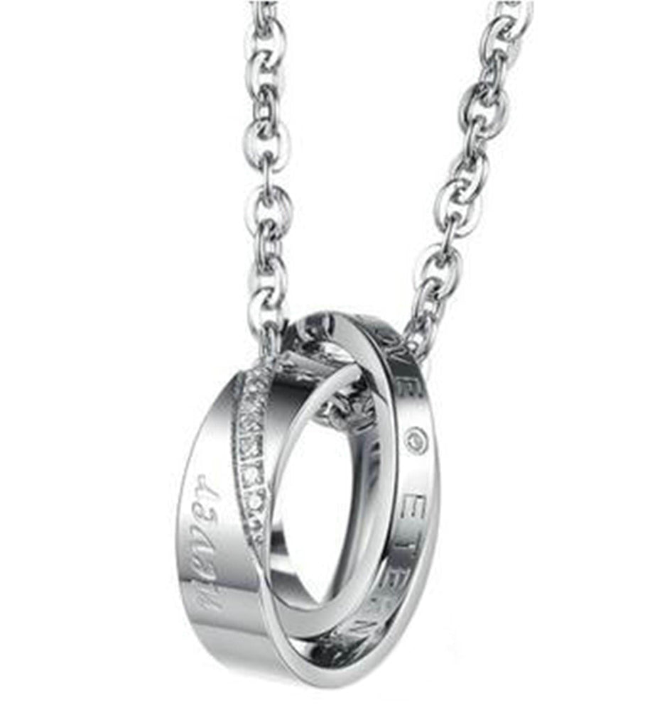 Stainless Steel Chain Necklaces for Couple Engagement Silver Round 50 CM