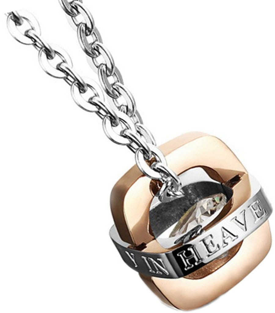 Stainless Steel Jewelry Pendant Necklace for Couple Removable Letter CZ Inlaid Black Rose Gold