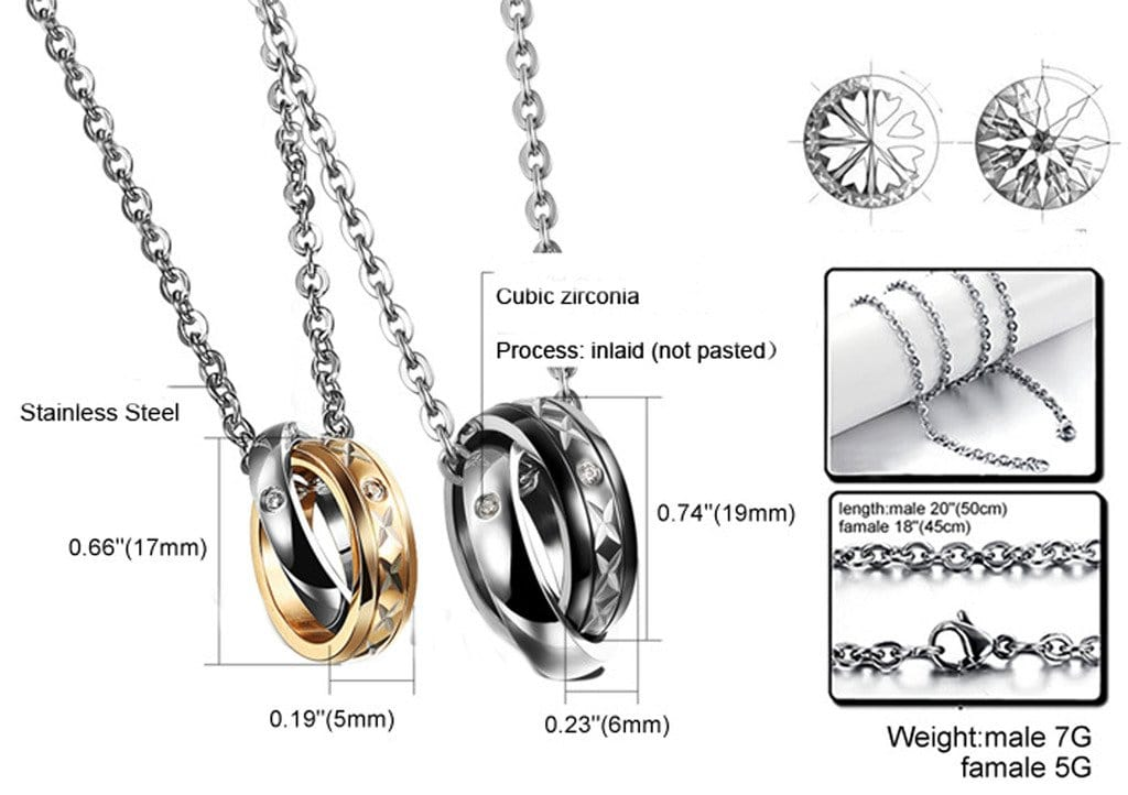 Women and Men Pendant Necklace Stainless Steel Double Rings CZ Black