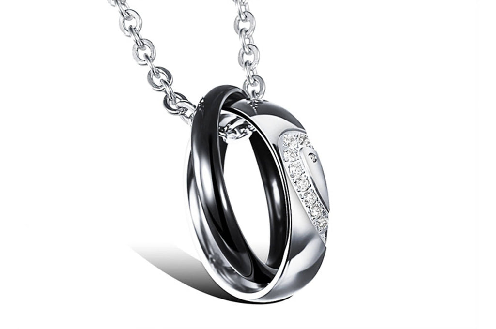 Stainless Steel Women Men Pendant Necklace Double Rings Heart Zirconia Silver
