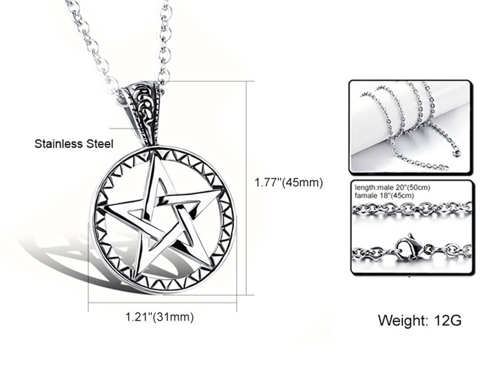 Stainless Steel Women Men Pendant Necklace Hollow Star Round Pattern Silver