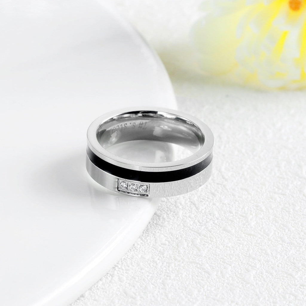 Stainless Steel Engagement Rings for Couple Silver Black Crystal Wedding Bands
