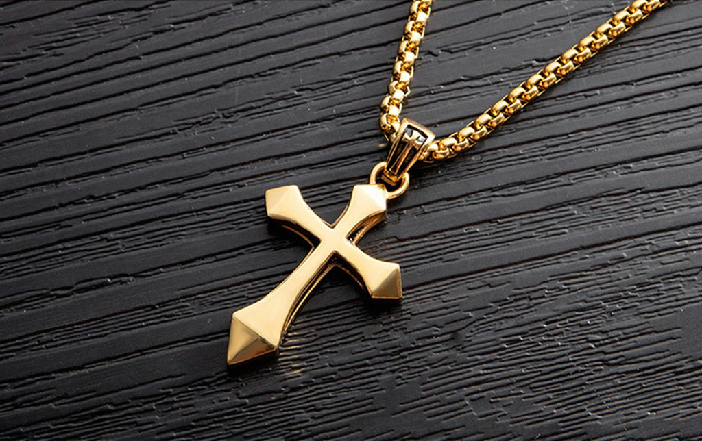 Stainless Steel Pendant Necklace for Couples Cross Black Silver Gold Pendant