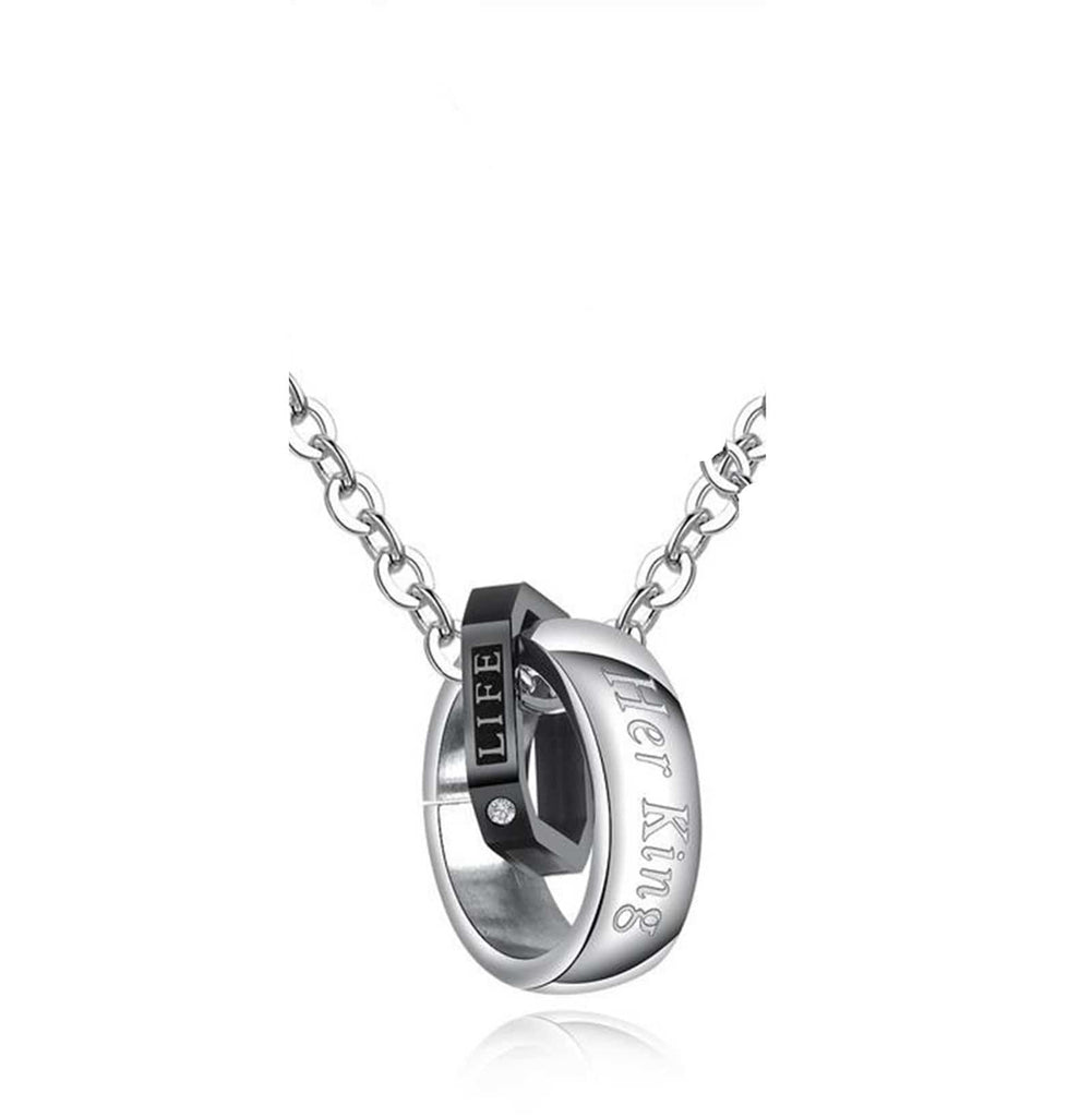 Her King His Queen Titanium Steel Couple Necklace Studded Matching Chain