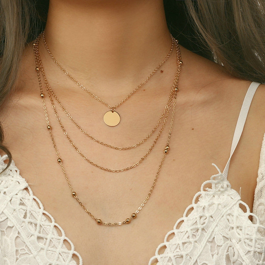 Multi-layer Necklace Dainty Gold Coin Satellite Necklace Disc Pendant Clavicular Chain