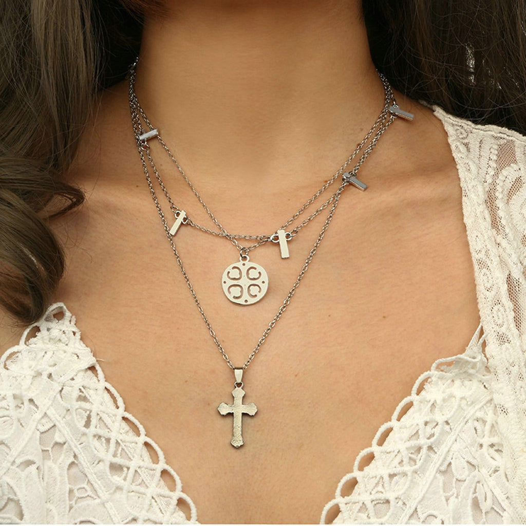 Silver Coin Minimalist Necklace Cross Pendant Triple Layering Necklace Set