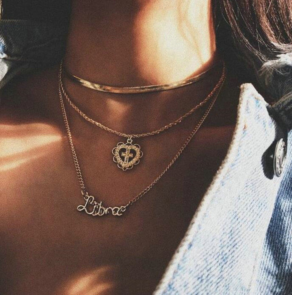 Multi Strand Necklace Snake Choker Cross Heart Love Minimalist Necklace Gold Filled Chain