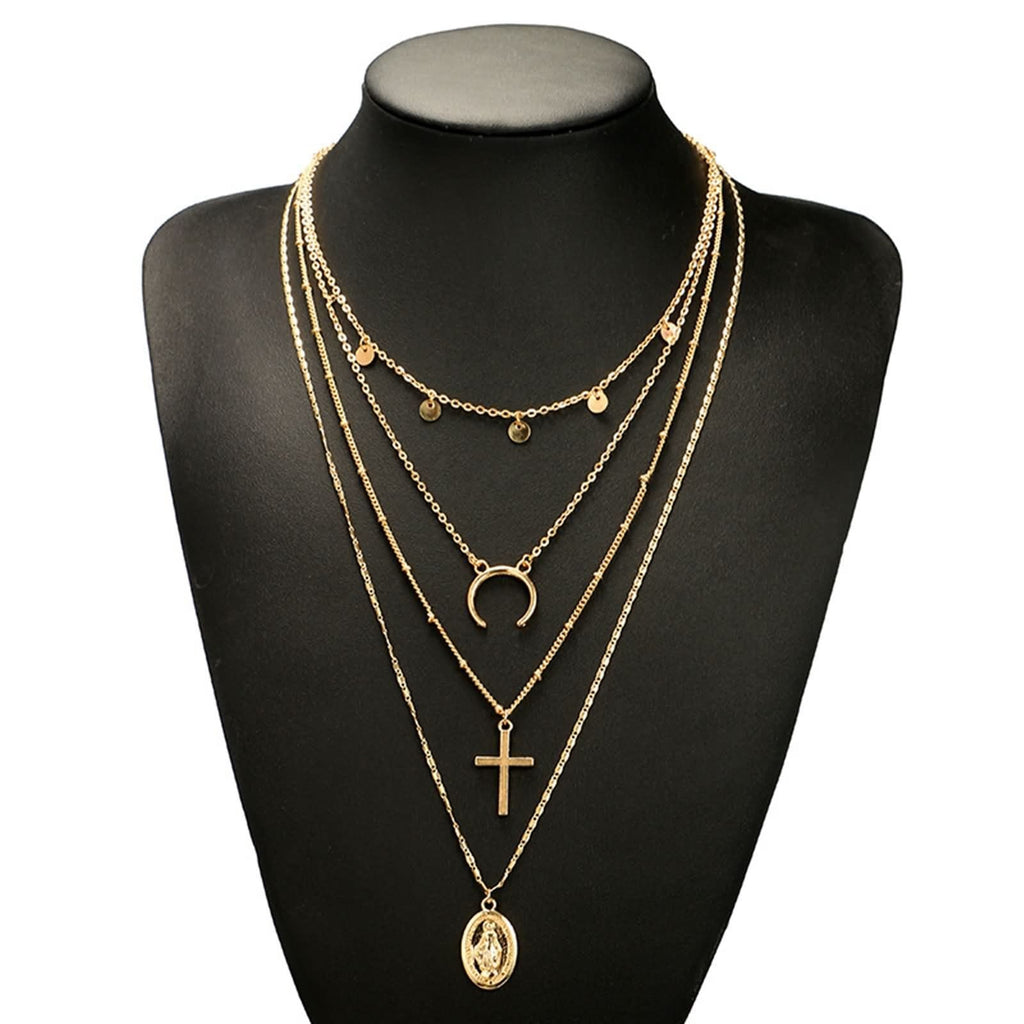 Gold Coin Layering Necklace Set Cross Virgin Mary Pendant Moon Minimalist Layered Necklace