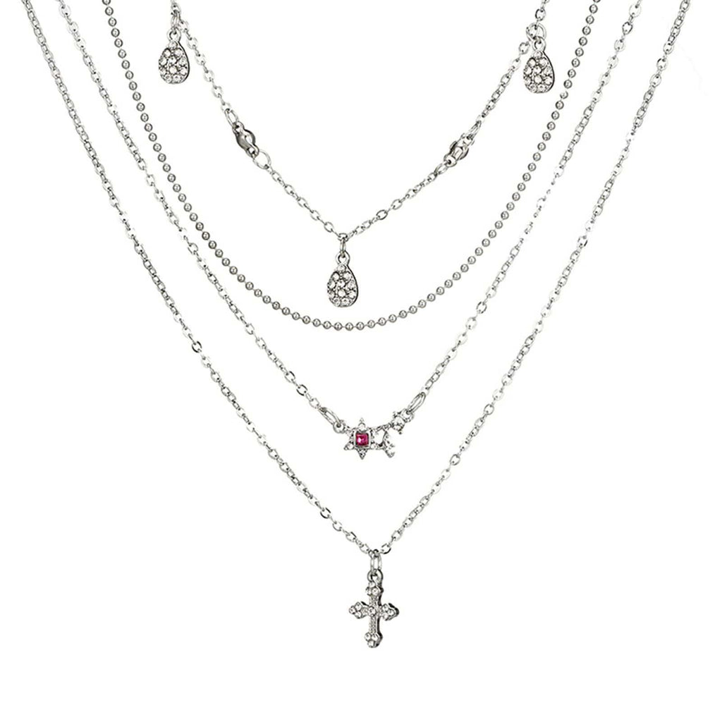 Silver Cross Minimalist Necklace Star Choker Pnedant Cubic Zirconia Multi Strand Necklace