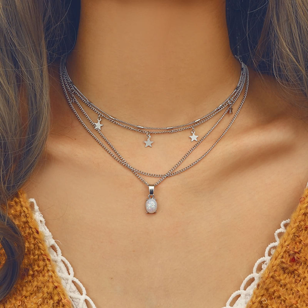 Moonstone Pendant Layering Necklace Set Silver Star Choker Charm Layered Necklace Minimalist