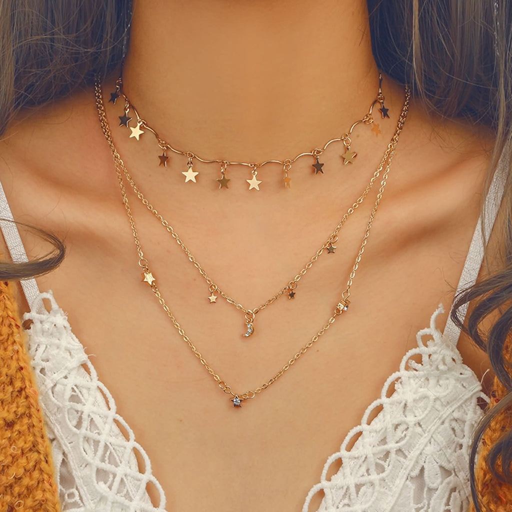 Gold Moon Star Minimalist Necklace Star Choker Charms Pendant Tassel Crescent Moon Necklace