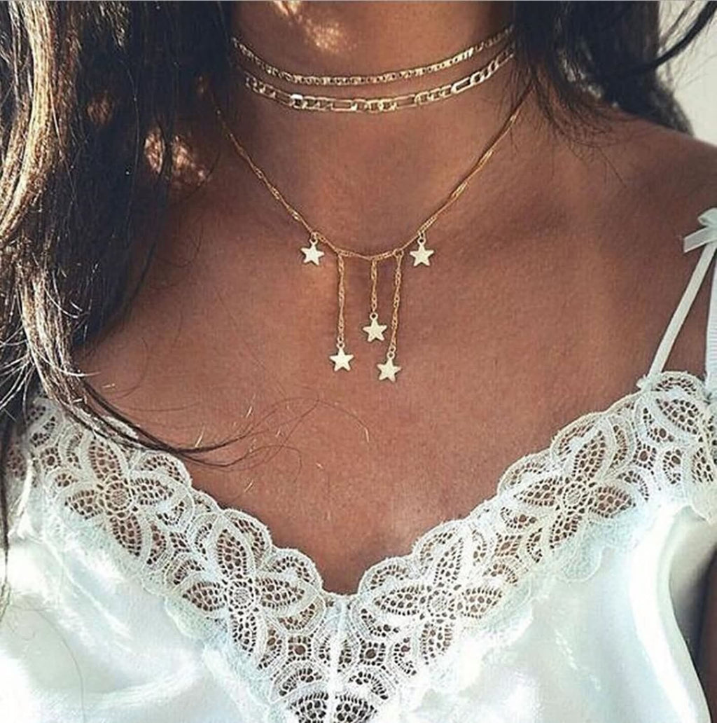 Gold Figaro Choker Minimalist Necklace Multi Strand Stars Pendant Chain Layering Necklace Set