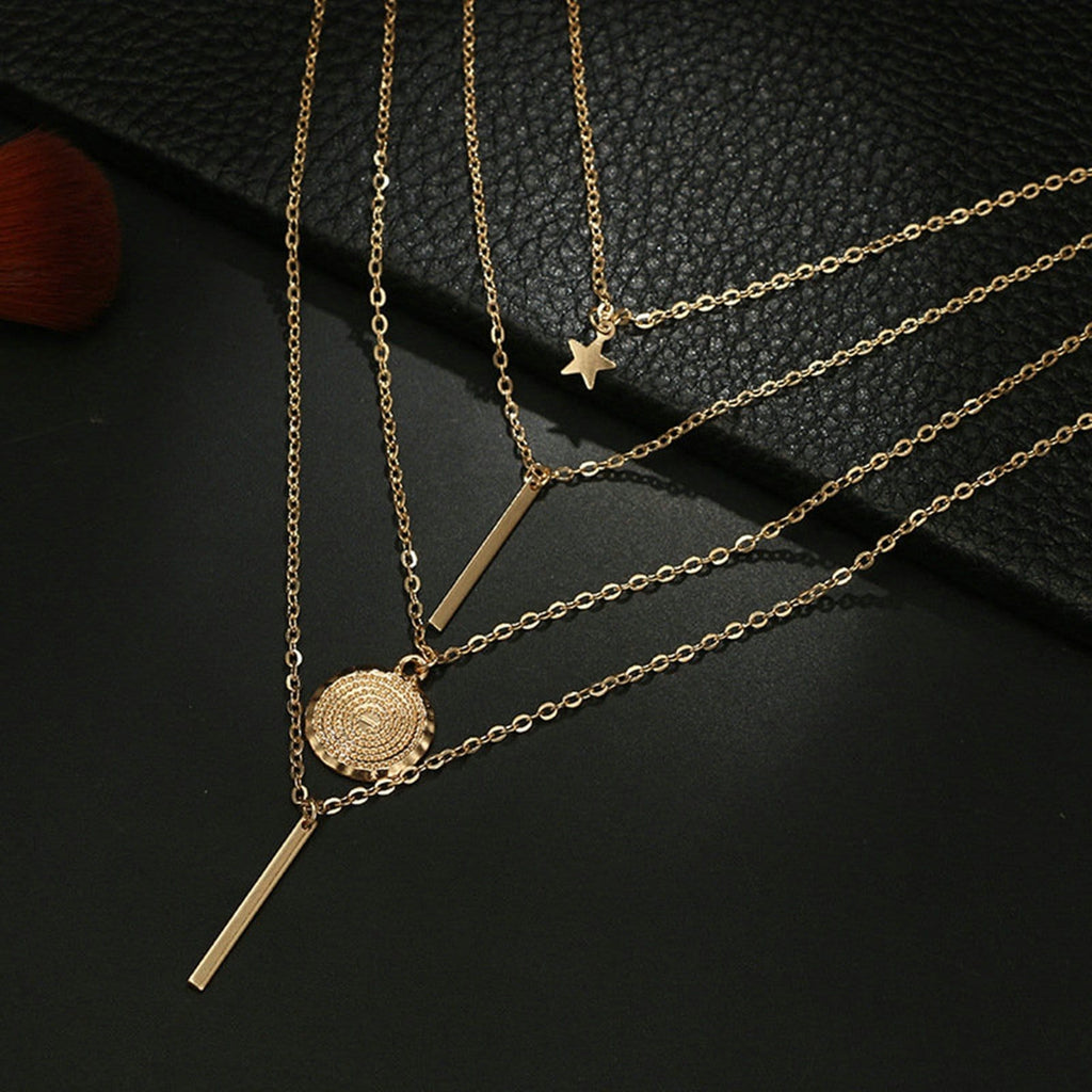 Multi-layer Bars Necklace Small Gold Coin Necklace Set Star Clavicle Chain Round Tag
