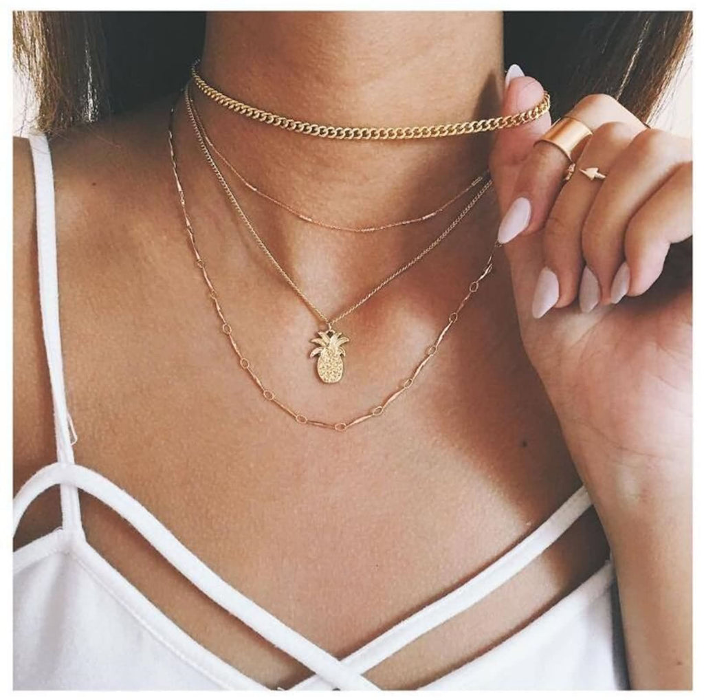 Gold Choker Layering Necklace Set Pineapple Pendant Multi Strand Necklace Minimalist