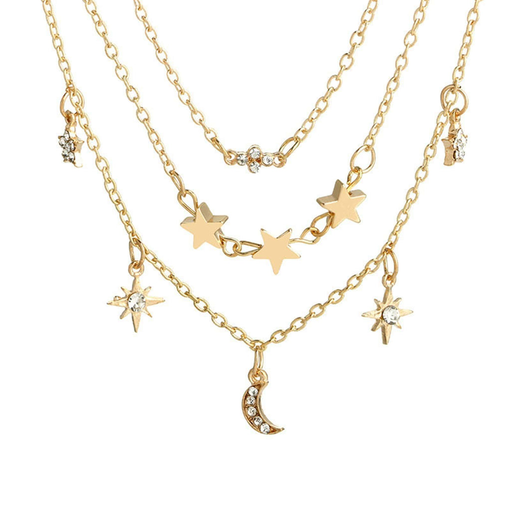 Layering Necklace Set Moon Star Charm Pendant Chain Minimalist Layered Necklace Gold