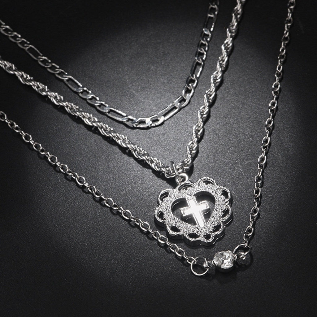 Gold Plated Minimalist Necklace Multi-layered Necklace Set Cross Heart Figaro Chain Cubic Zirconia